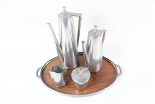 Mid-Century Modern Holland Pewter & Teak Coffee/Tea Set