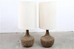 Pair Danish Mid-Century Modern Cork & Wood Table Lamps