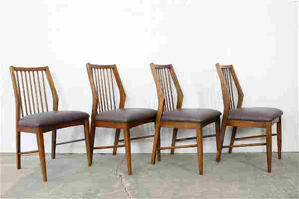 Set of 4 Modern Danish Dining Chairs w/Leather Cushions