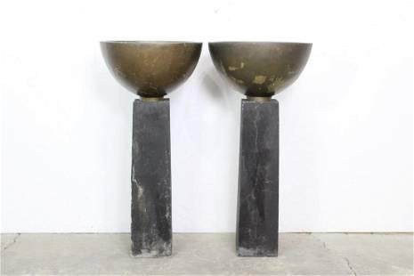 Pair of Modern Planters Pedestals,Postmodern Futuristic