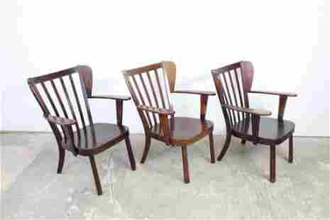 Set of 3 Fritz Hansen Canada Wooden Chairs Denmark 1940