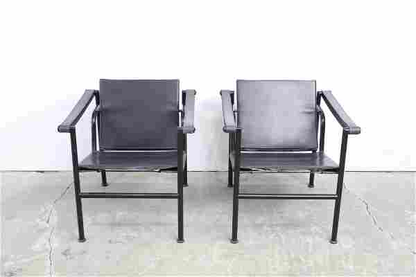 Pair Modern Le Corbusier Basculant Sling Chair,Leather
