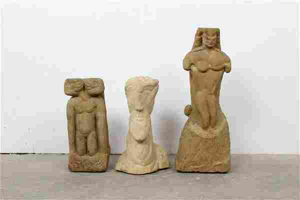 Trio of Folk Art Naive Carved Stone Figural Sculptures