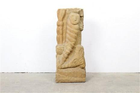 Folk Art Naive Carved Stone Sculpture Caterpillar Man