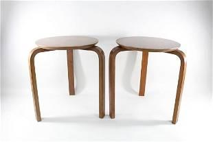 Pair of Danish Mid-Century Modern Nesting Wooden Stools