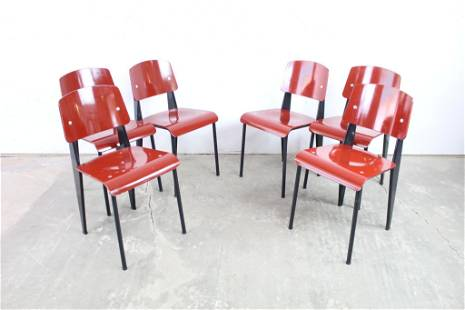 Set of 6 Red & Black Modern Jean Prouve Vitra Chairs