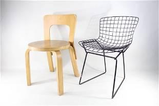 2 Mid-Century Modern Children Chairs,Bertoia,Aalto