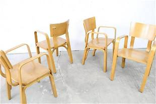 Set of 4 Mid-Century Modern Thonet Bentwood Arm Chairs