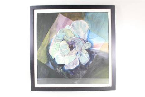Framed Watercolor Flower Painting Signed San Soucie