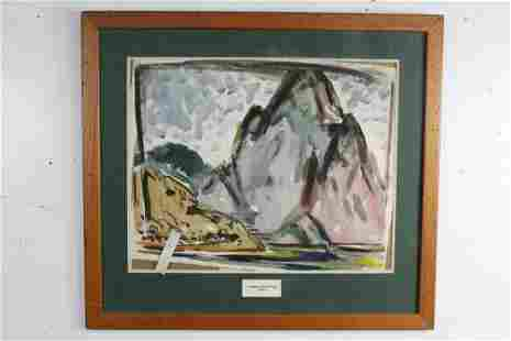 Framed Homer Pfeiffer 1946 Abstract Watercolor Painting