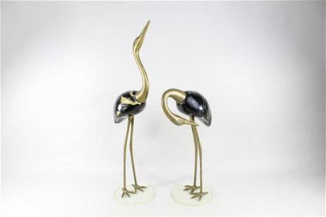 Pair Brass Egret, Heron, Crane Bird Sculptures, Statues