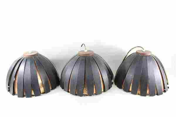 Set of 3 Danish Mid-Century Modern Copper Pendant Light