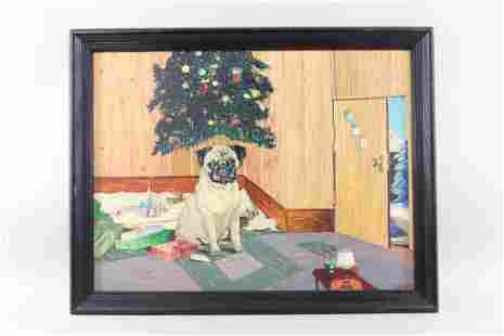 Framed Signed Naive Painting of Pet Pug Dog
