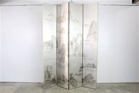 8ft Folding Screen,Ink Wash Painted Mountain Landscape