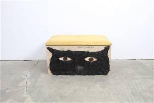 Earl Swanigan Cat Dogs Outsider/Folk Art Painted Bench