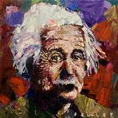 "Steve Penley, Original acrylic on canvas, ""Einstein"""