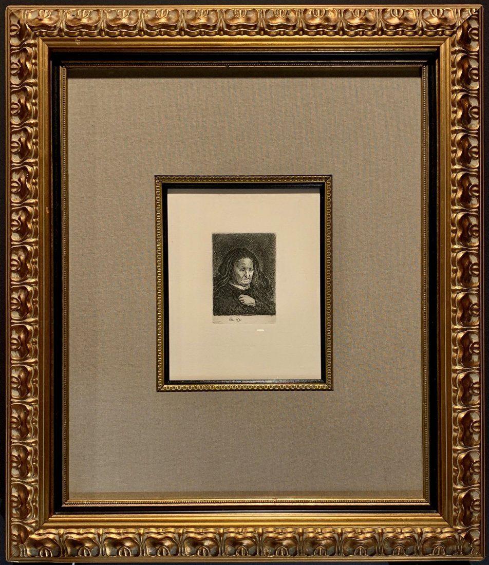 """Rembrandt Harmenszoon Van Rijn, Etching, """"Artist"""