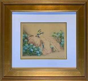 """Louis Icart, Etching & Aquatint, """"Dame Rose"""", 1933"""