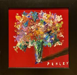 "Steve Penley, Original acrylic on canvas, ""Flowers"""
