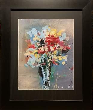 "Steve Penley, Original acrylic on paper, ""Flowers"""