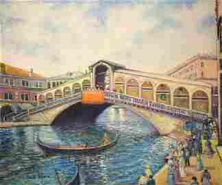 """H.Claude Pissarro, Original oil on canvas  """"Venise"""""""