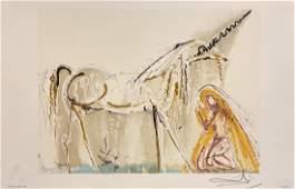 """Salvador Dali, Original color lithograph, """"Licorne"""""""