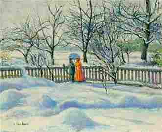 H.Claude Pissarro (1935-) Neige au Manoir de Miettes