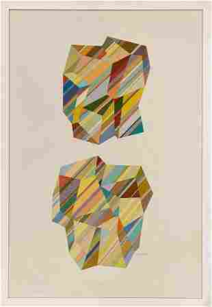 "Joseph Perrin ""Crystals 340"" lithograph on paper"