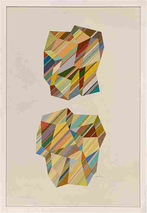 """Joseph Perrin """"Crystals 340"""" lithograph on paper"""
