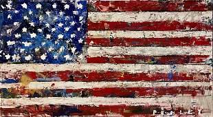 "Steve Penley, Original acrylic and mixed media ""Flag"""
