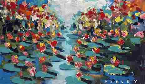 "Steve Penley, orignal acrylic on canvas, ""Lily Pads"""