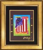 "Peter Max, original mixed media, ""Flag With Hearts"""