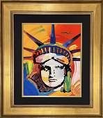 """Peter Max, original mixed media, """"Liberty Head"""""""