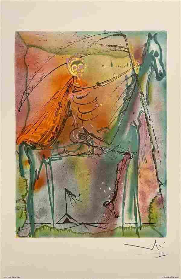 "Salvador Dali, original color lithograph, ""Le Mort"""