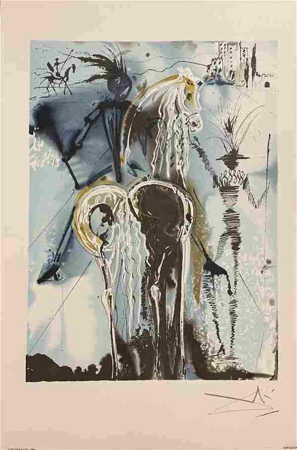 Salvador Dali, original color lithograph, Don Quichotte