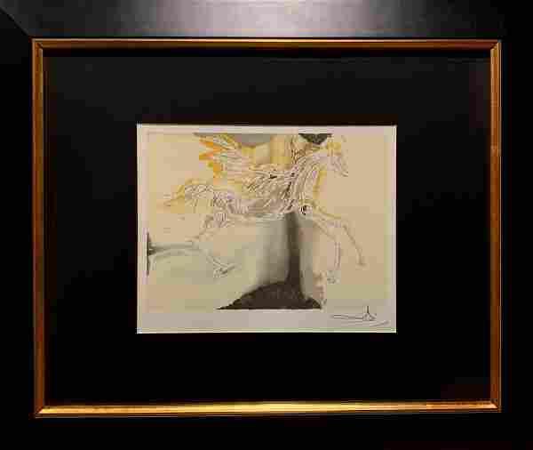 "Salvador Dali, Original color lithograph, ""Pégase"""