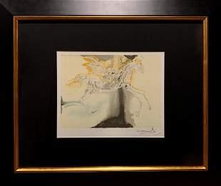 "Salvador Dali, Original color lithograph, ""P�gase"""