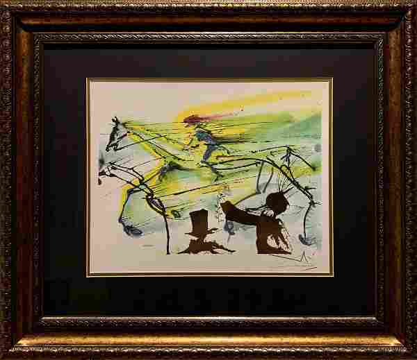 "Salvador Dali, Original color lithograph, ""Course"""