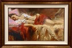 Pino Daeni, Large embellished giclee on canvas