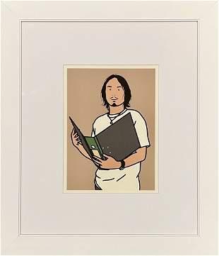 """Julian Opie, original color lithograph, """"Portraits"""""""