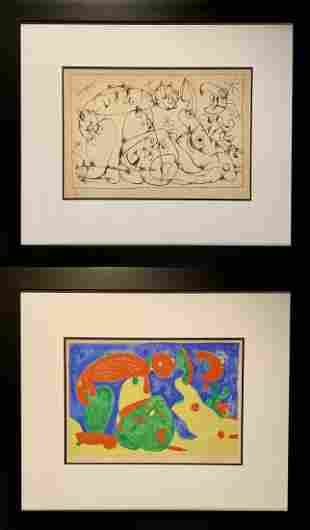 Joan Miro, (2) Hand Signed and Numbered lithographs