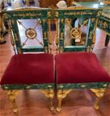 Pair Ormolu Mounted Malachite Chairs