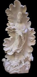 Monumental Han Bai Yu/White Jade Guanyin Statue