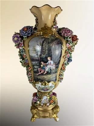 Hand Painted Meissen Style Porcelain Floral Vase
