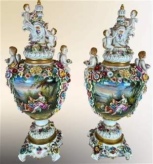 Pair Meissen Style Porcelain Floral Cherub Vases