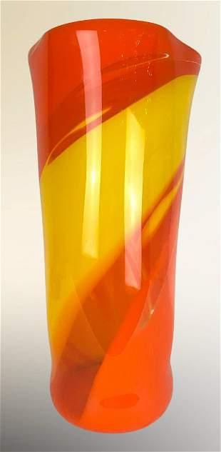 Large Hand Blown Murano Art Glass Vase