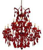 Hand-Cut Red Crystal Chandelier