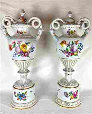 19th Century Pair of Large Dresden Vases