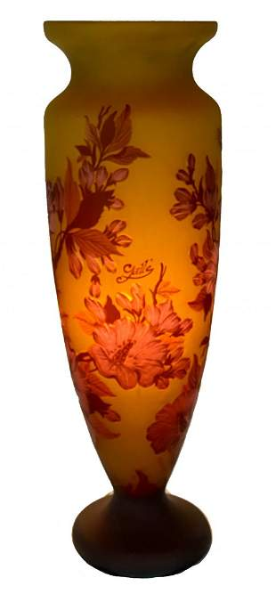 Galle Style Art Glass Cameo Vase