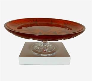 Hand Cut Ruby Crystal Pedestal Plate